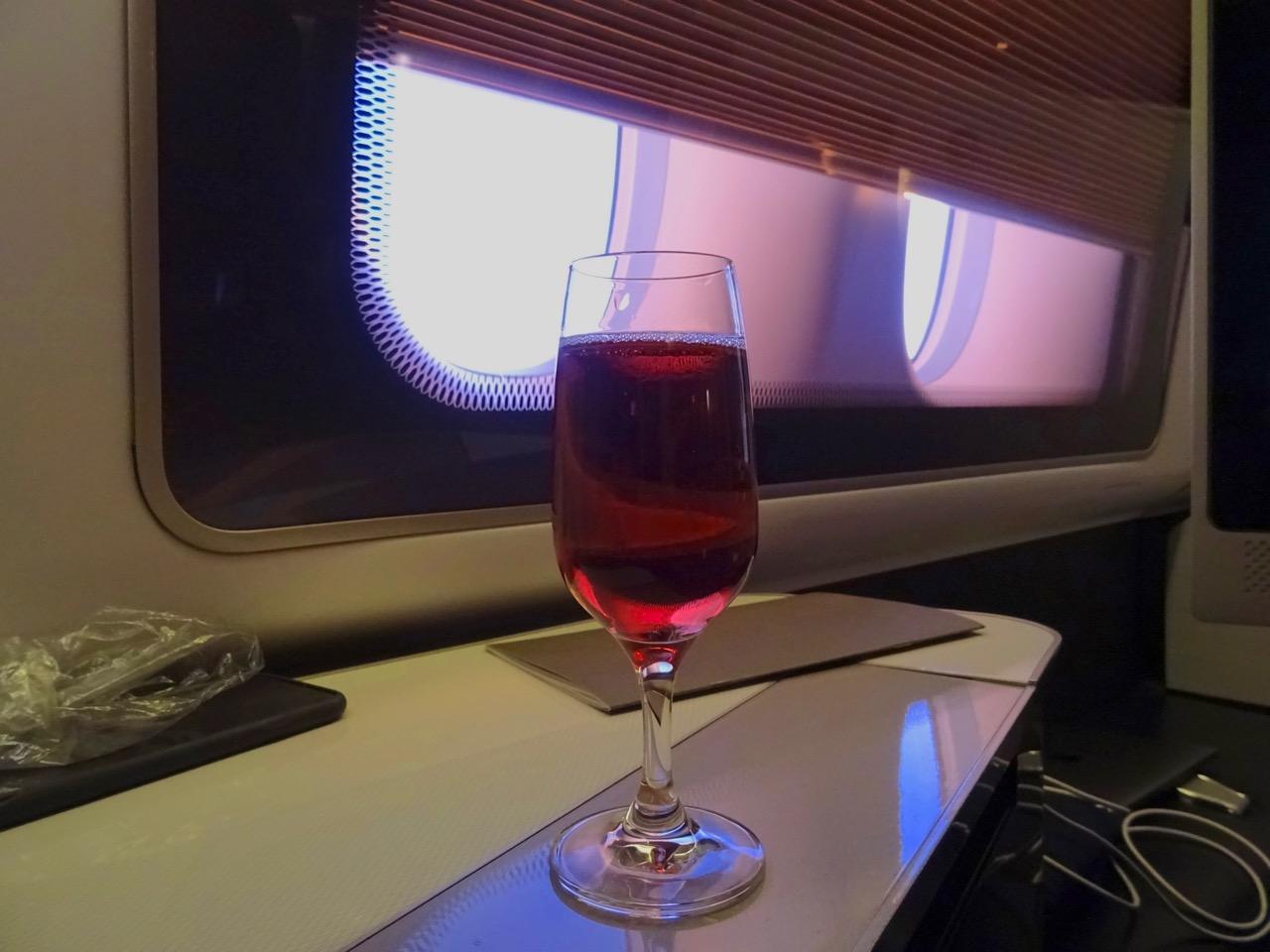 British Airways 777 First Class drinks