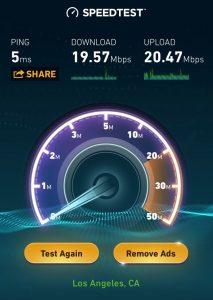 W Hotel Hollywood internet speed test