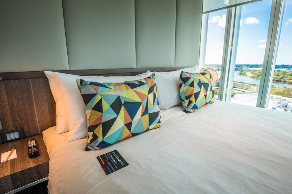 Aloft Perth Breezy Corner King Room bed