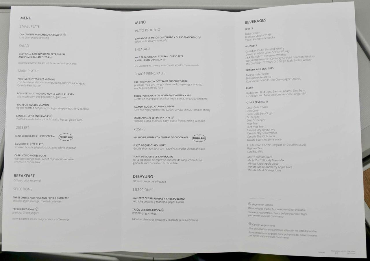 American Airlines 772 Business Class menu