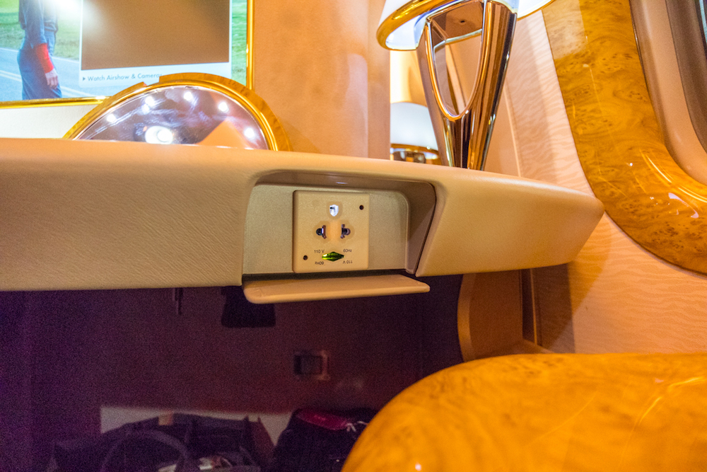 Emirates 777 First Class power socket