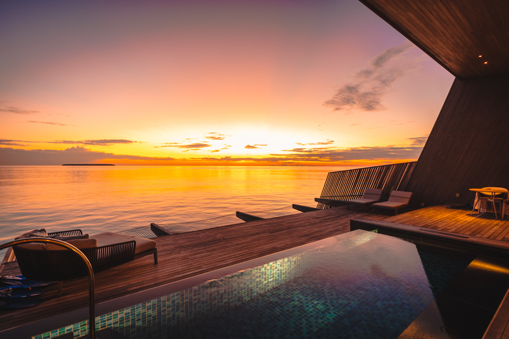 The St. Regis Maldives Vommuli Resort sunset view