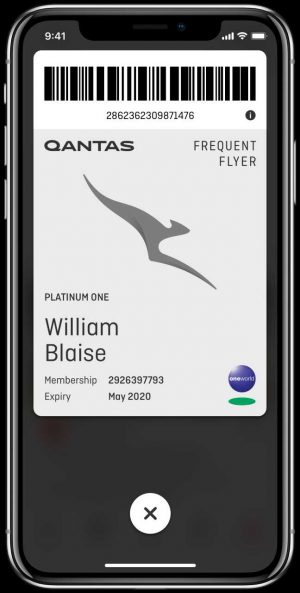 Qantas Frequent Flyer digital membership card