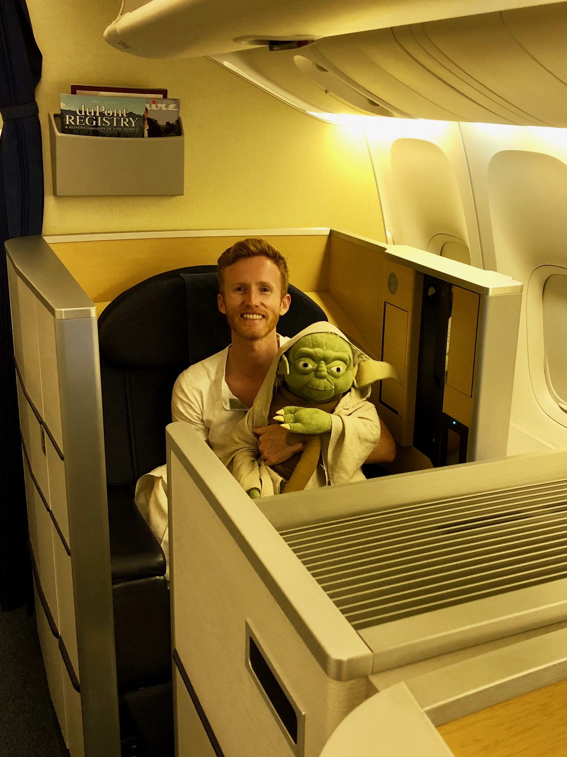 Matt and Yoda in ANA First Class