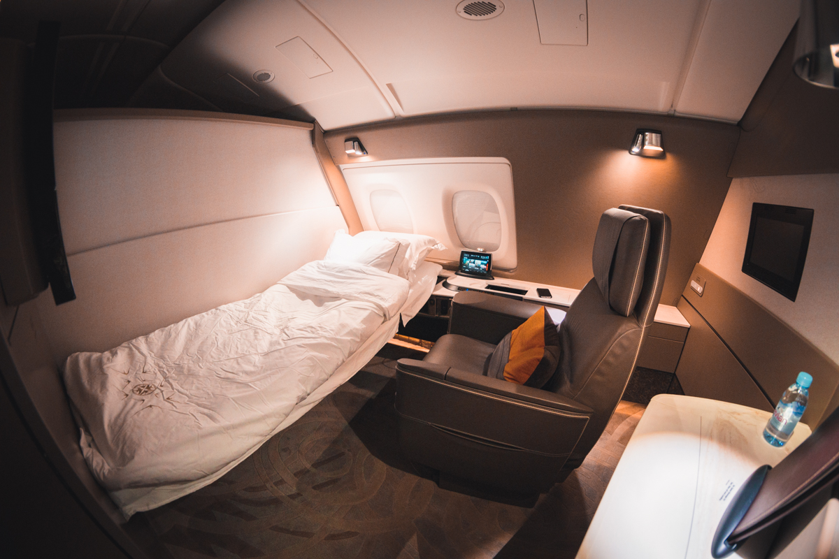 Singapore Airlines A380 First Class Suite lie-flat bed