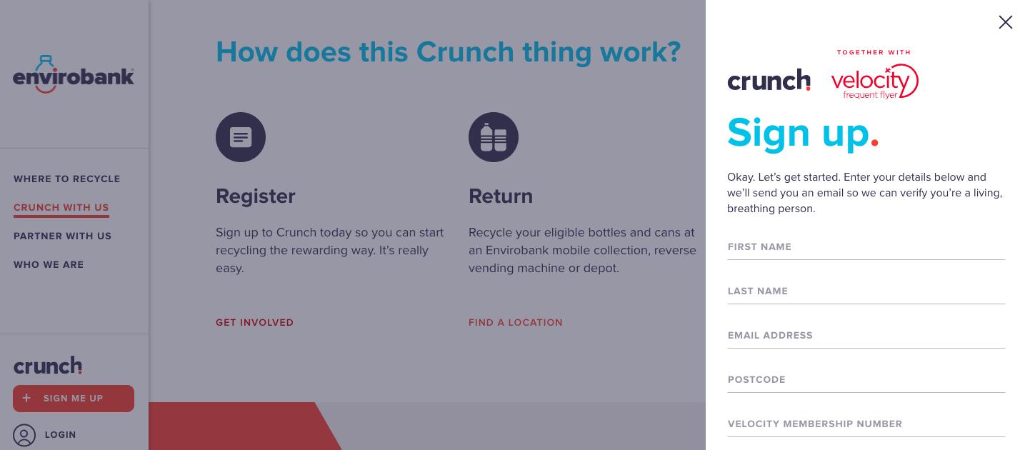 Crunch, Envirobank's rewards program