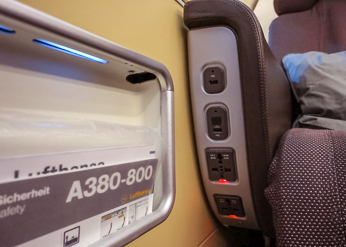 Lufthansa A380 First Class power sockets and USB