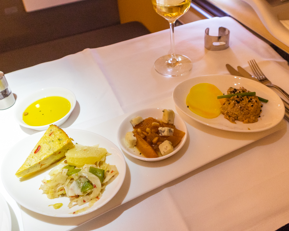 Lufthansa A380 First Class food