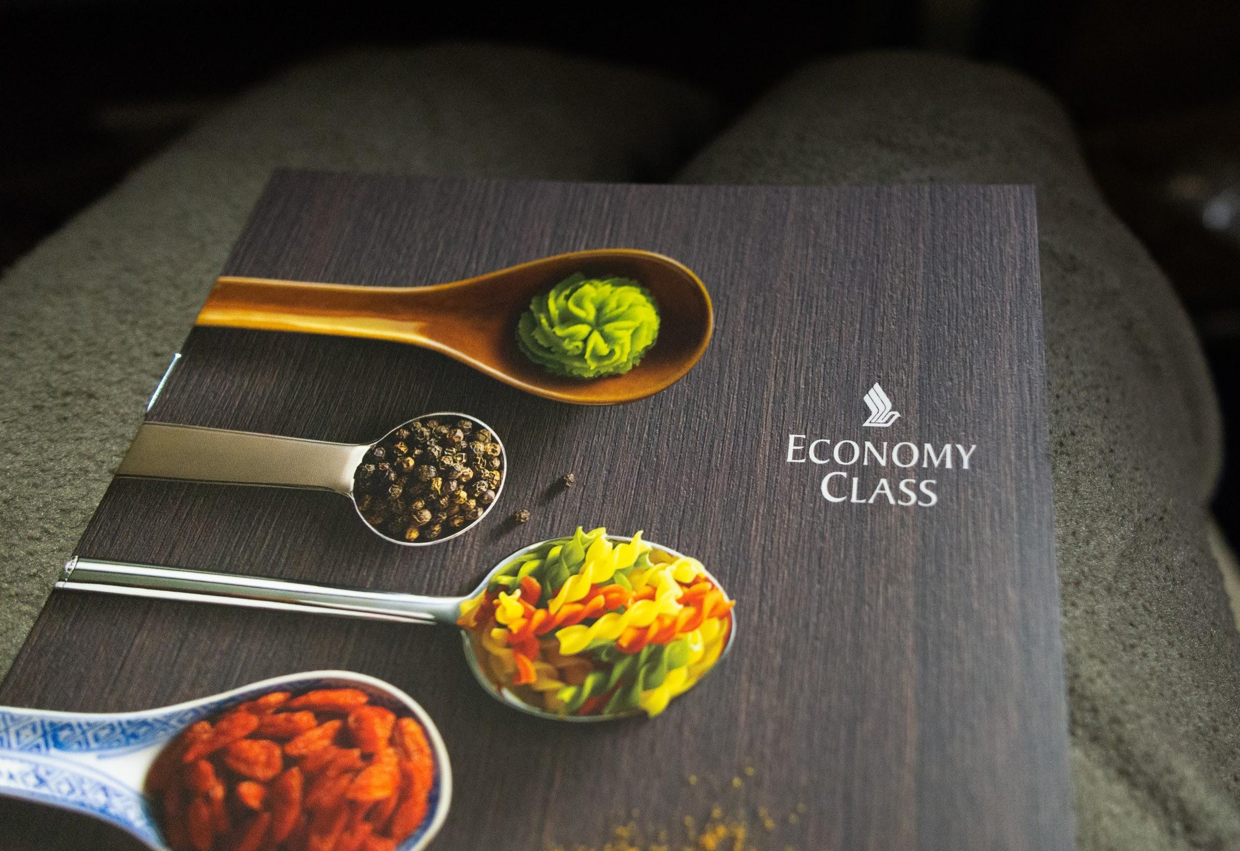 Singapore Airlines A350 Economy class menu
