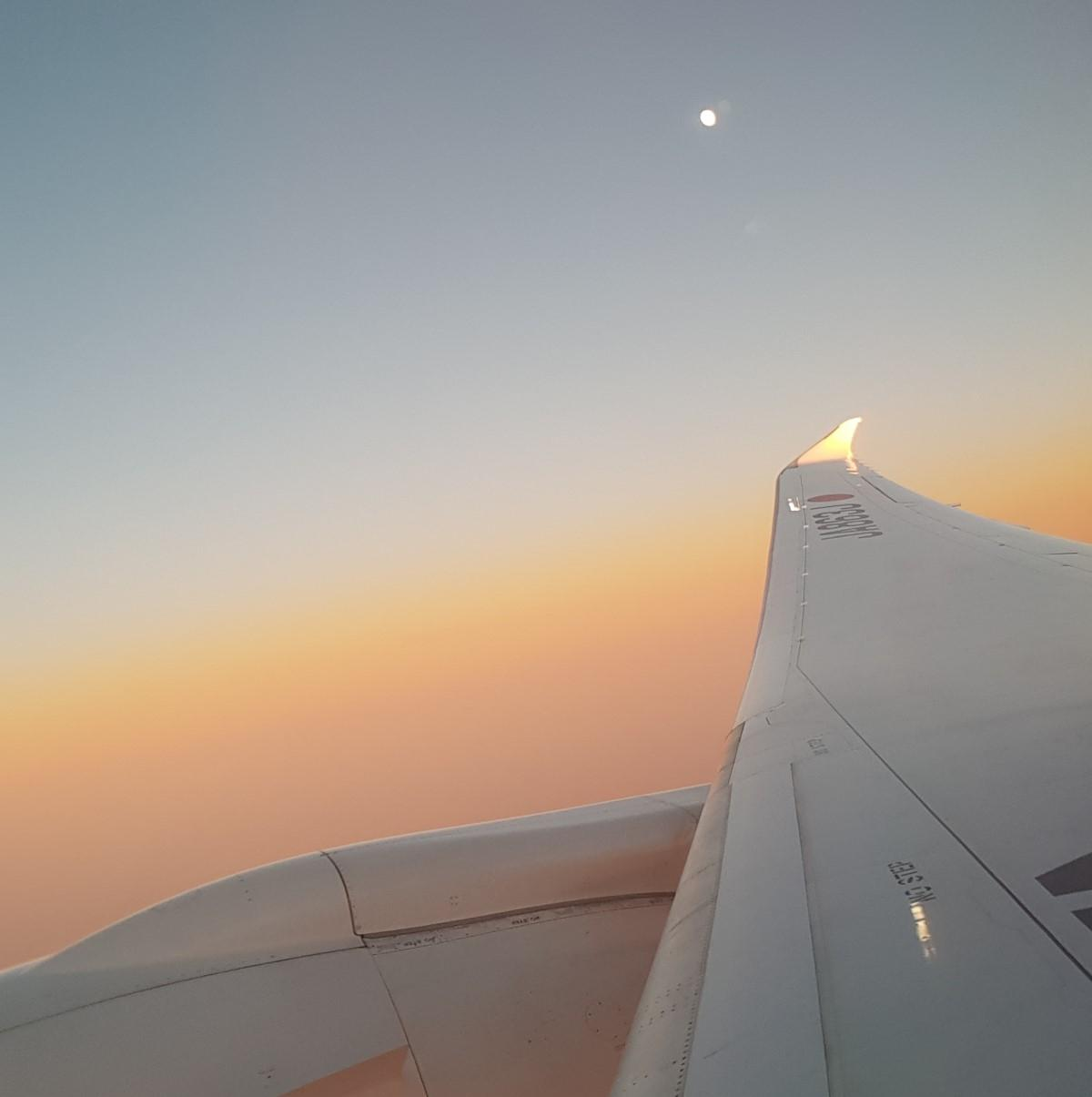 Moonset over the wingtip