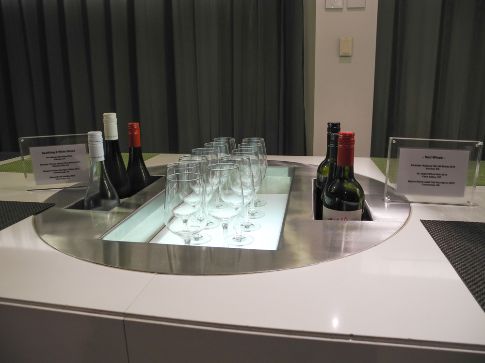 Qantas International Business Lounge Melbourne self-serve alcohol bar