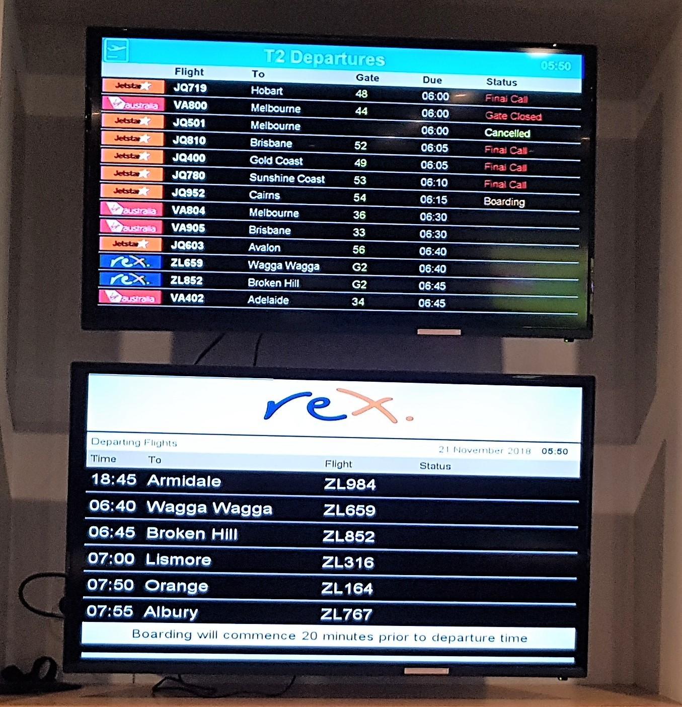 REX Lounge Sydney departure list screen