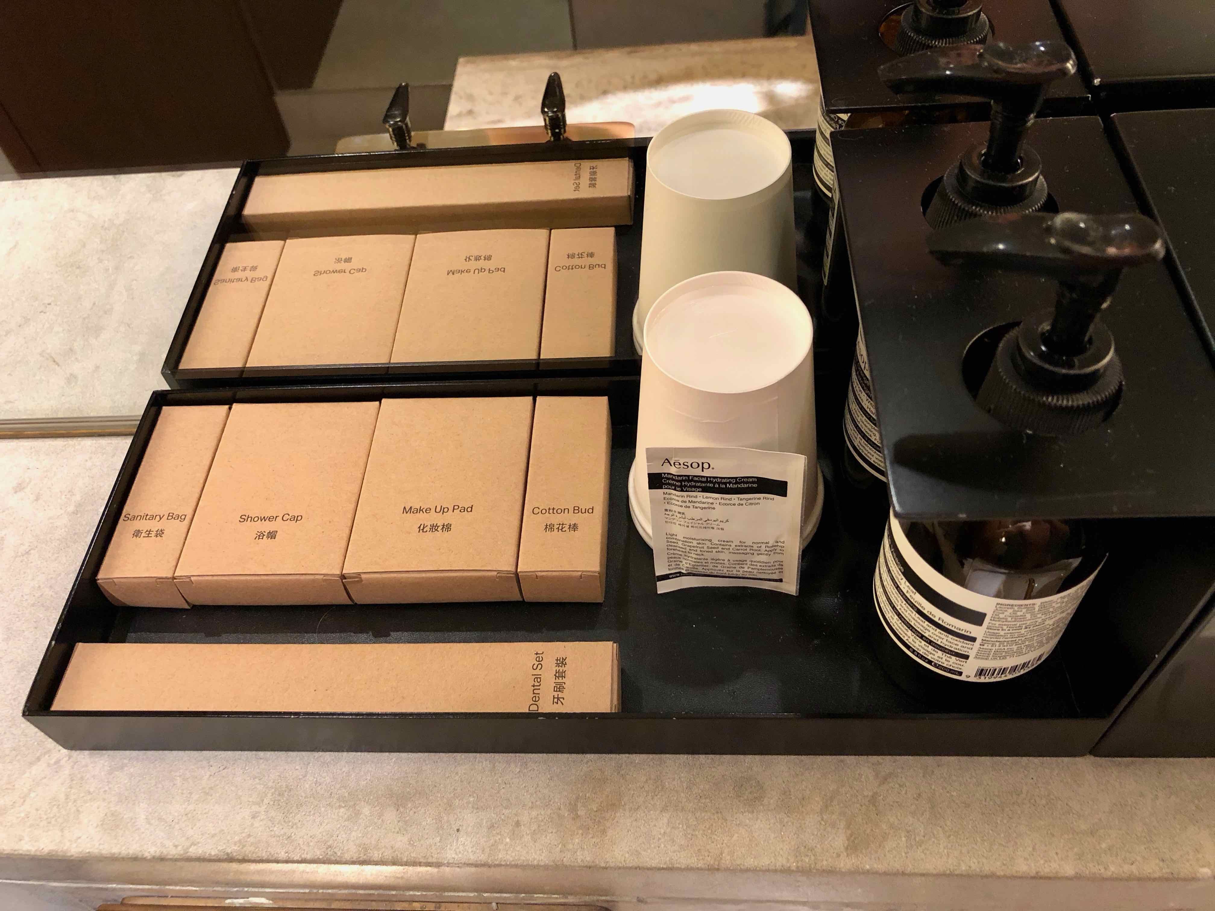 Cathay Pacific The Deck Business Class Lounge Hong Kong Aesop toiletries