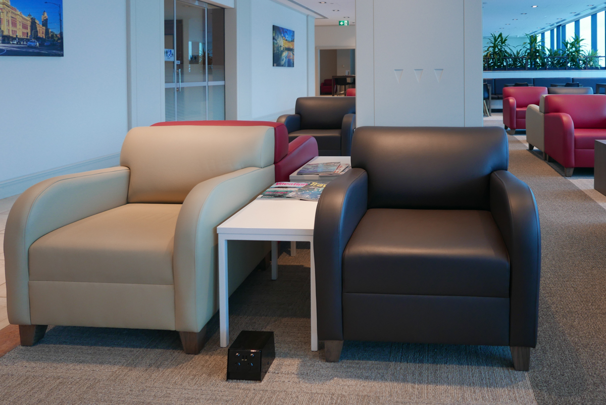 Marhaba Lounge Melbourne seat with power outlet and USB port