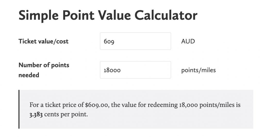 Qantas point value calculator for regional flight