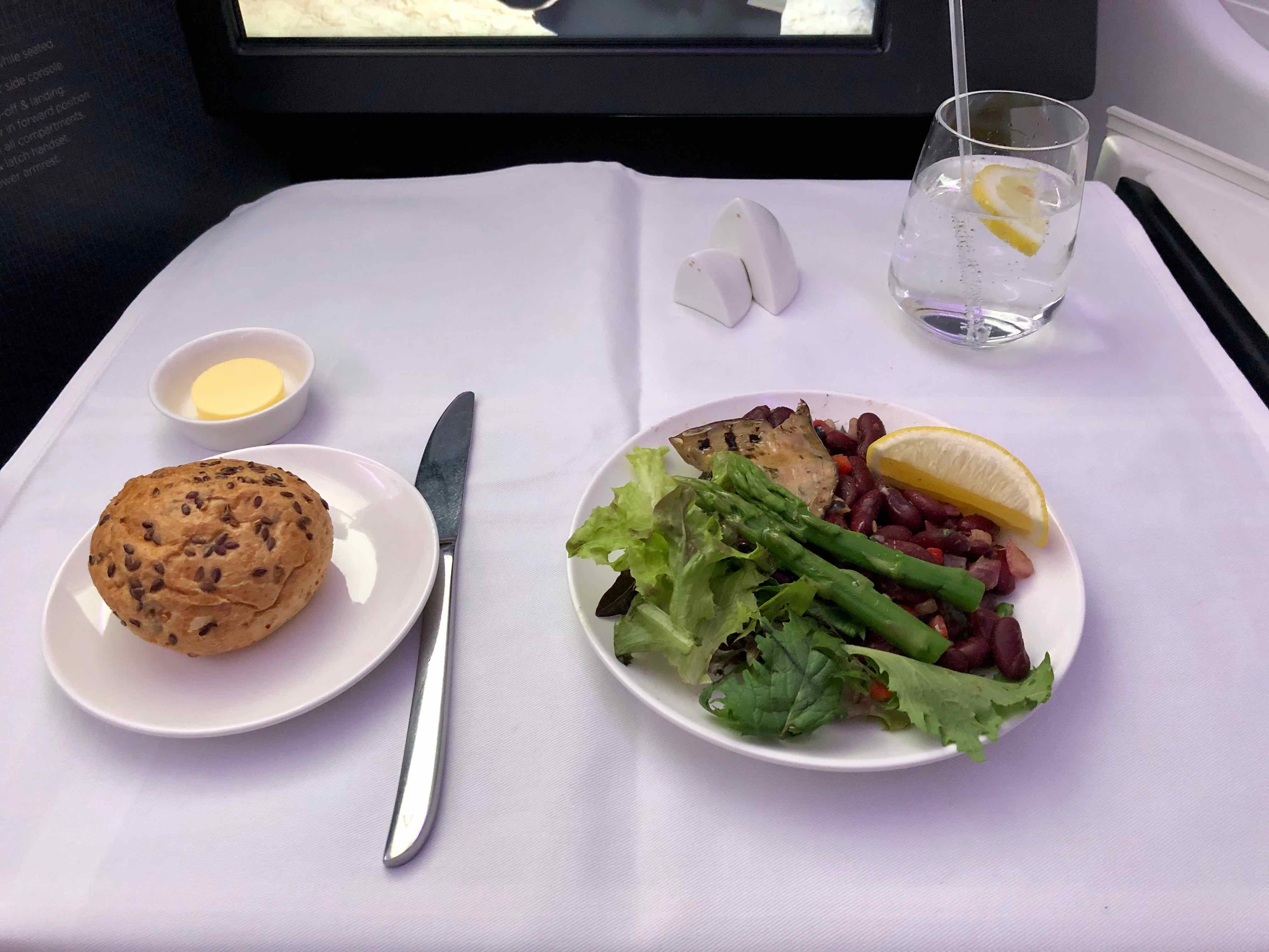 Virgin Australia A330 Business Class salad and dinner roll