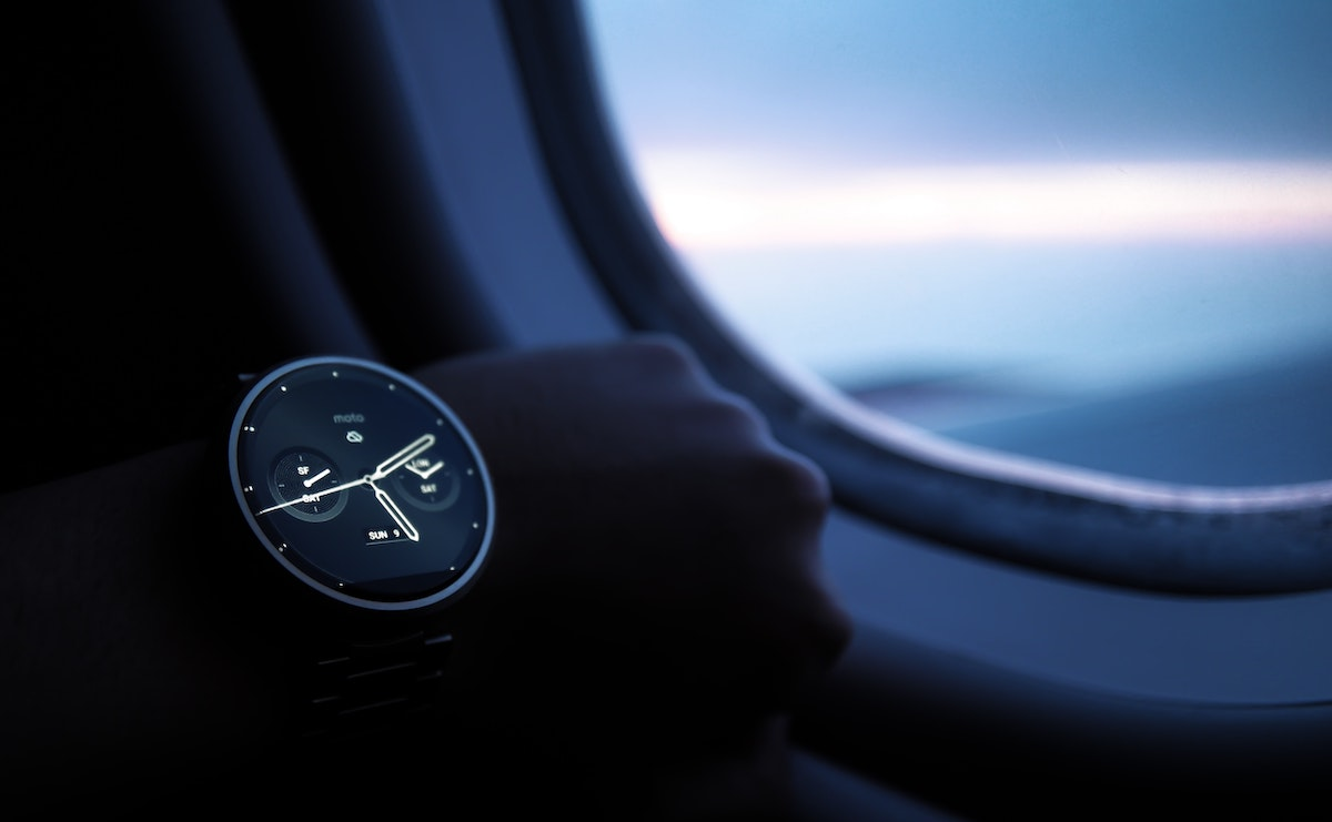 Watch by the plane window