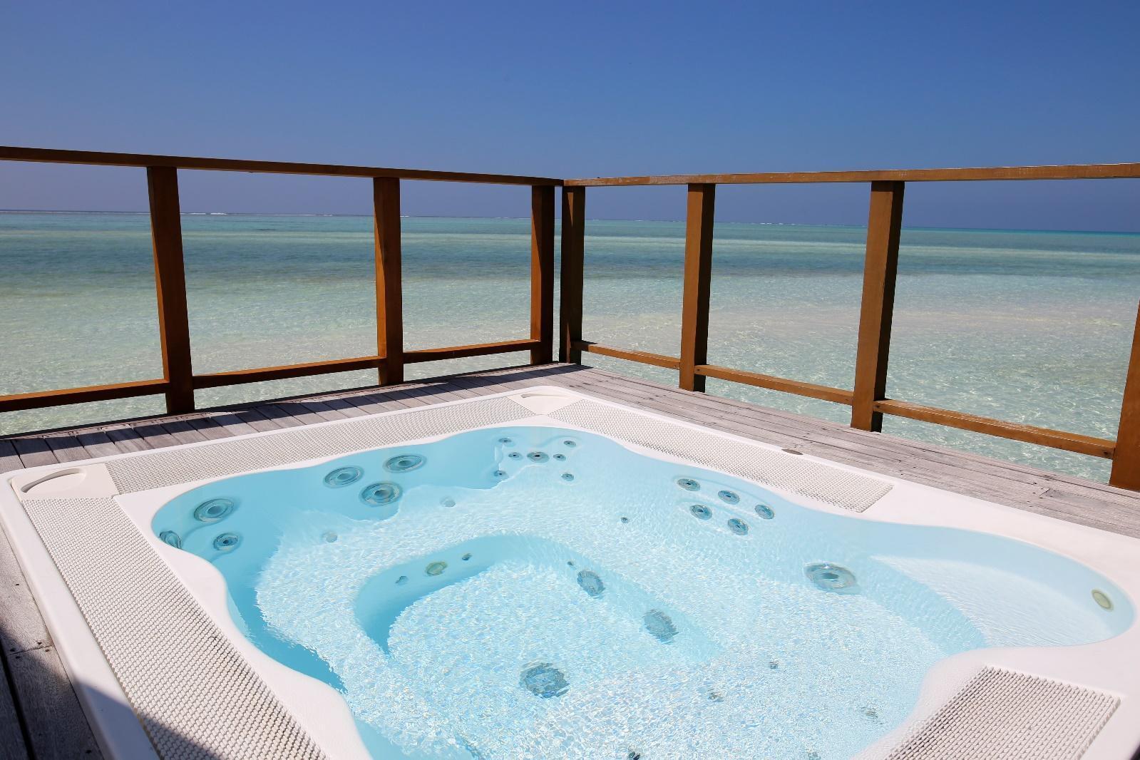 Conrad Rangali Maldives Sunset Water Villa jacuzzi