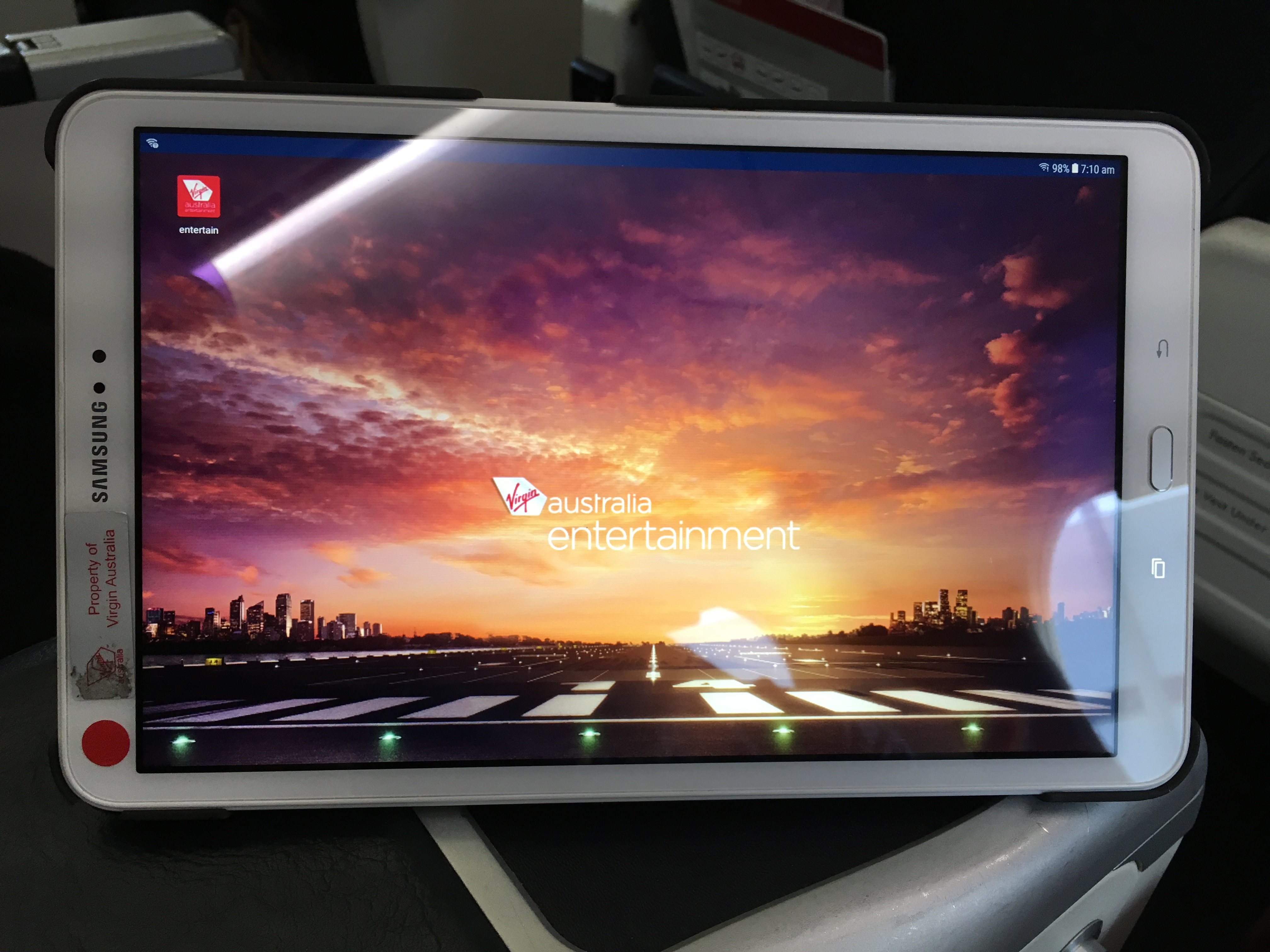 Virgin Australia Business Class inflight entertainment tablet