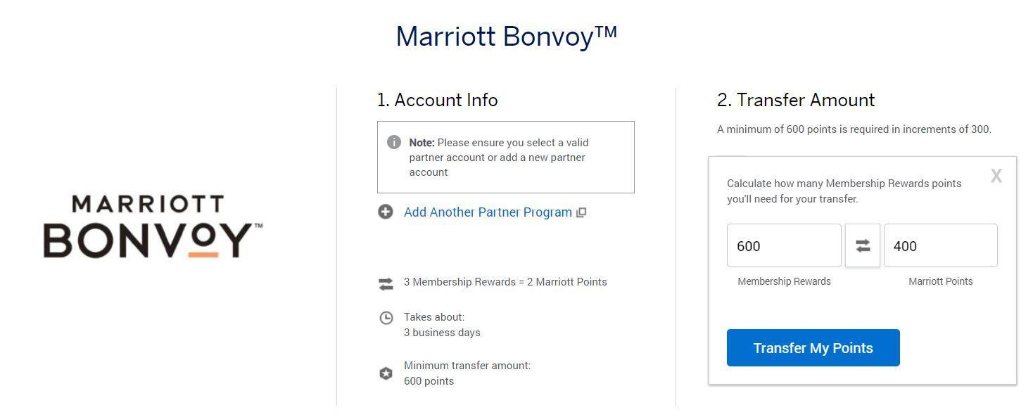 Marriott Bonvoy account info page