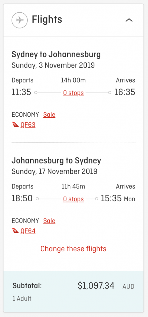 Qantas flight deal Sydney to Johannesburg 2019