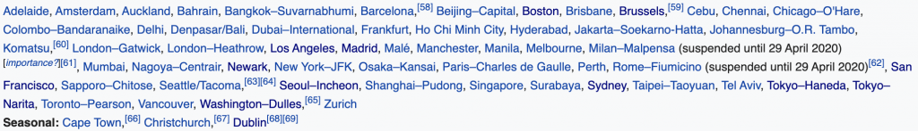 Cathay Pacific destinations as of February 2020