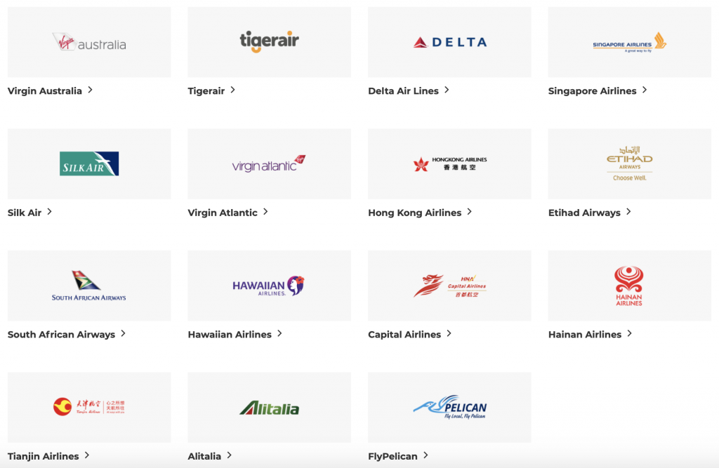 Velocity airline partners April 2019