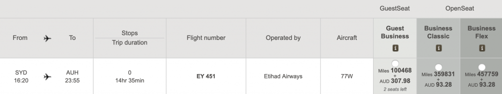 Etihad Saver vs Standard Award pricing