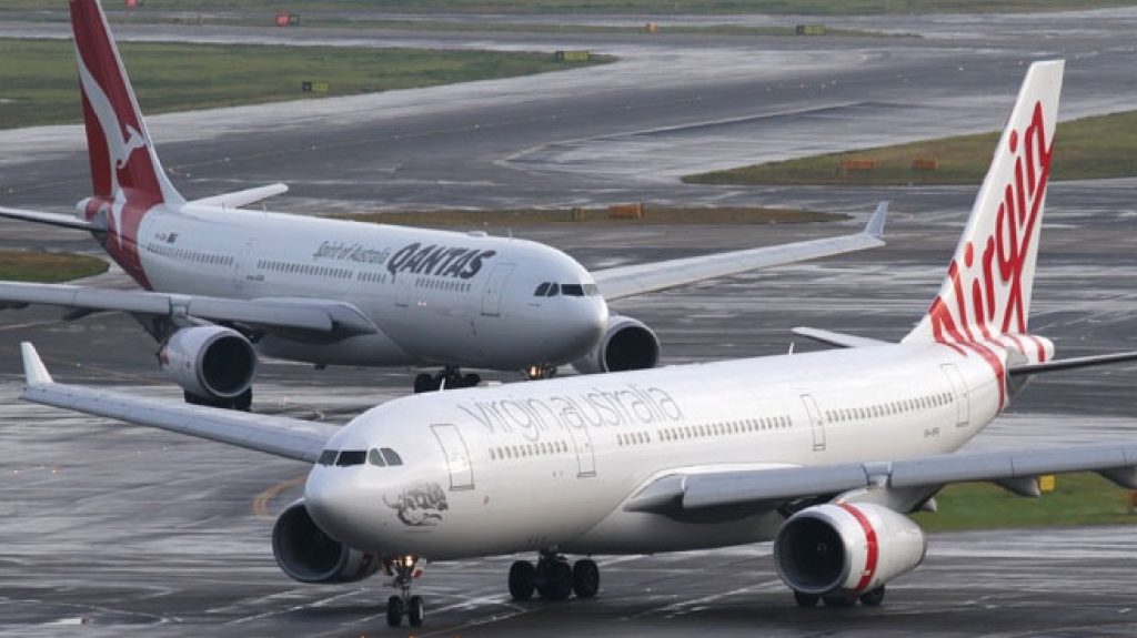 Qantas and Virgin Australia planes on the tarmac