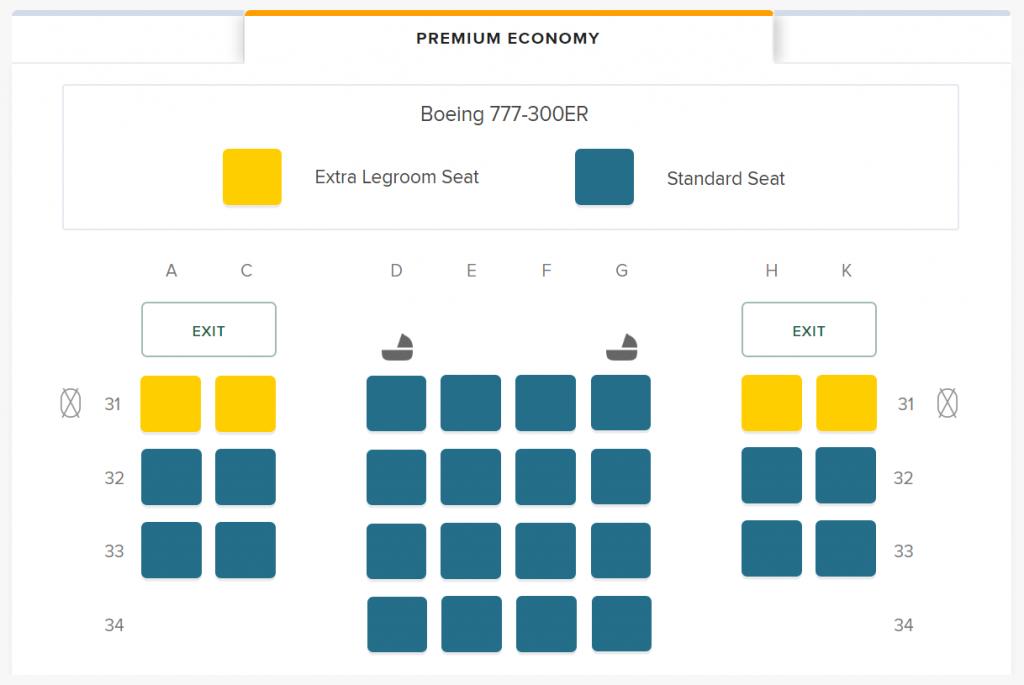 Singapore Airlines Premium Economy seat map