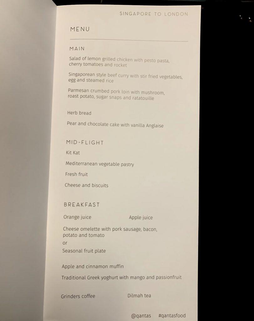 Qantas A380 Economy SIN-LHR food menu