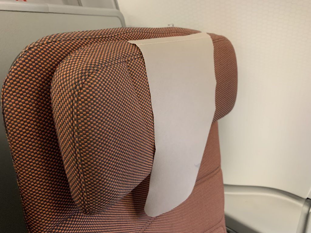 Qantas A380 Economy headrest