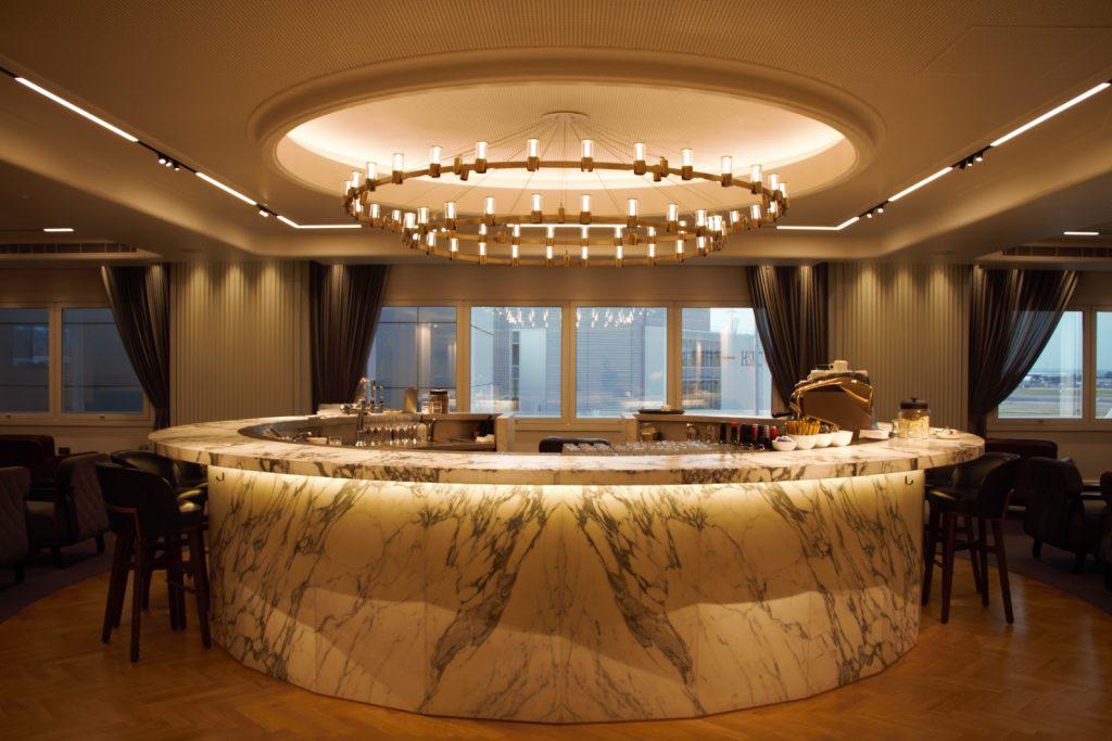 Qantas International London Lounge marble top bar