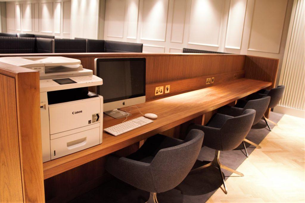 Qantas International London Lounge work station