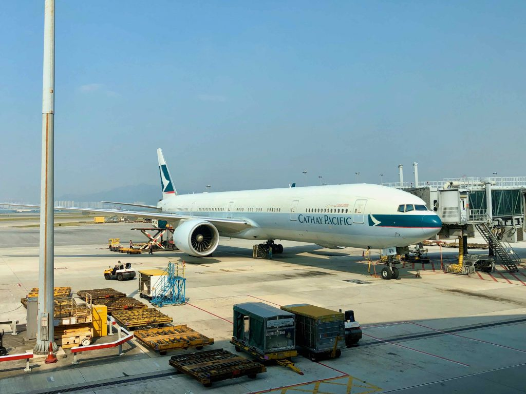 Cathay Pacific 777 on Hong Kong tarmac