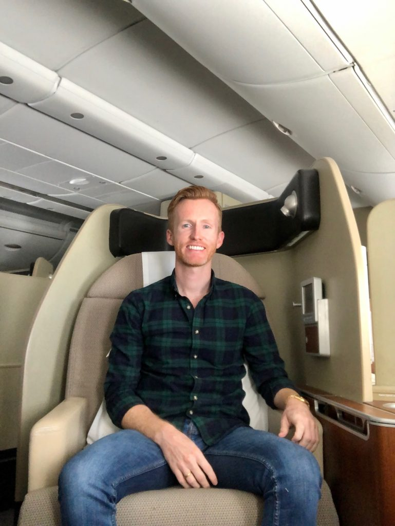 Matt in Qantas A380 First Class