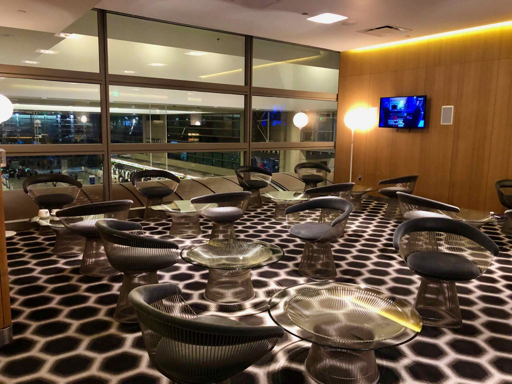 Qantas International First Lounge LAX seating area