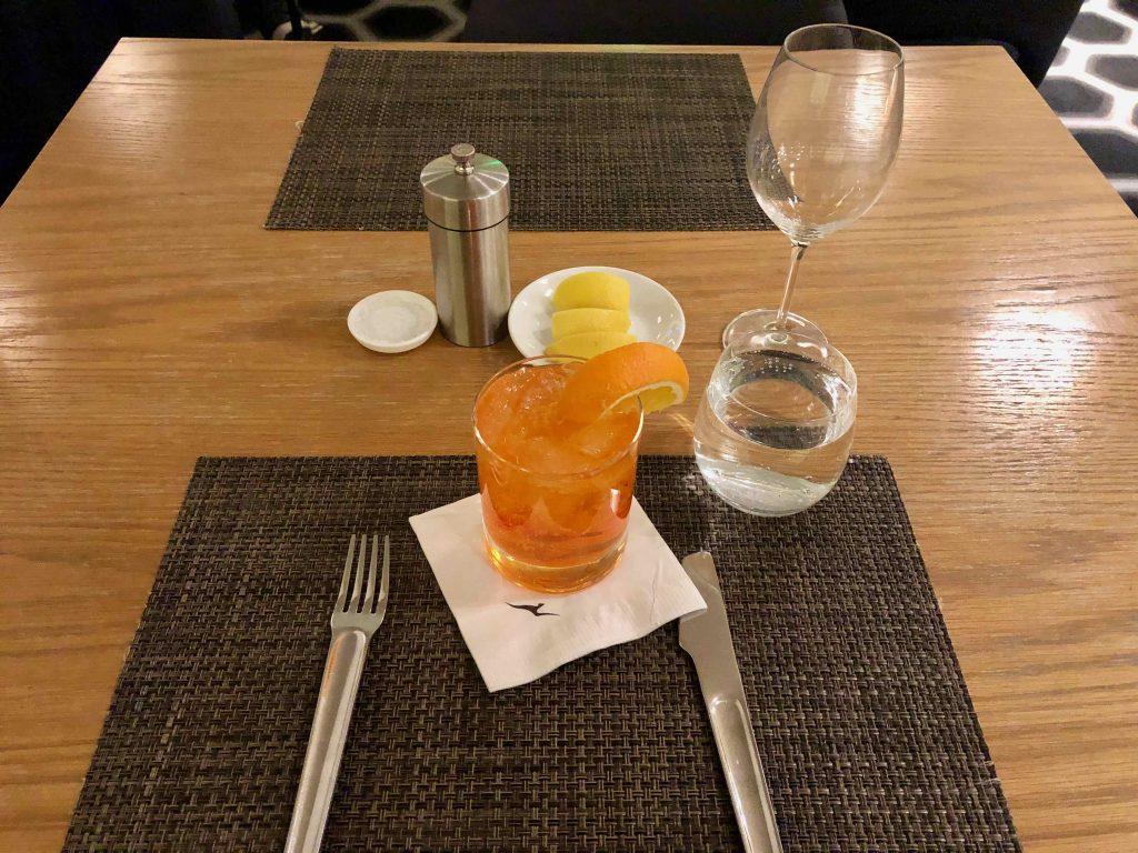 Qantas International First Lounge LAX drink