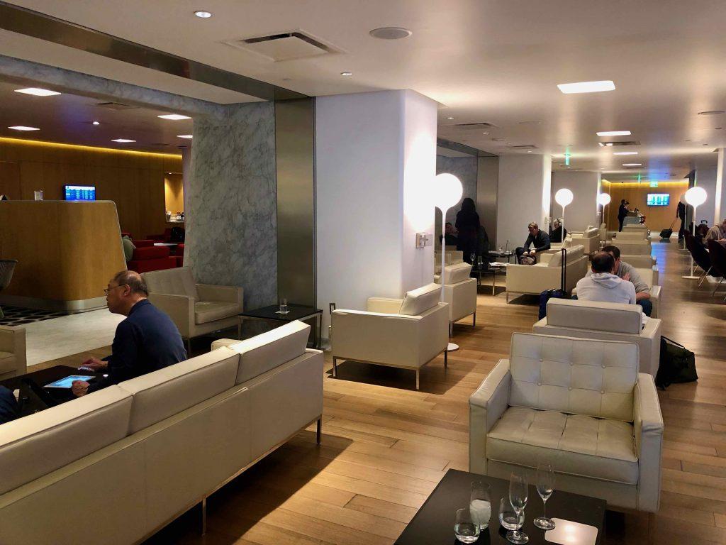 Qantas International First Lounge LAX seating area