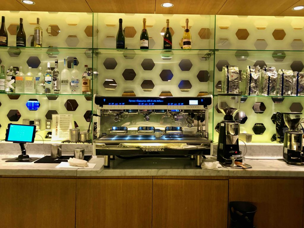 Qantas International First Lounge LAX barista machine