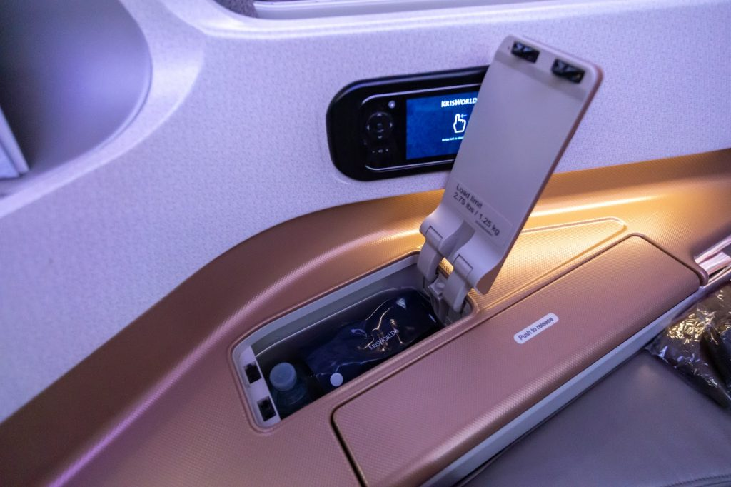Singapore Airlines A350 Business Class - BNE-SIN small storage