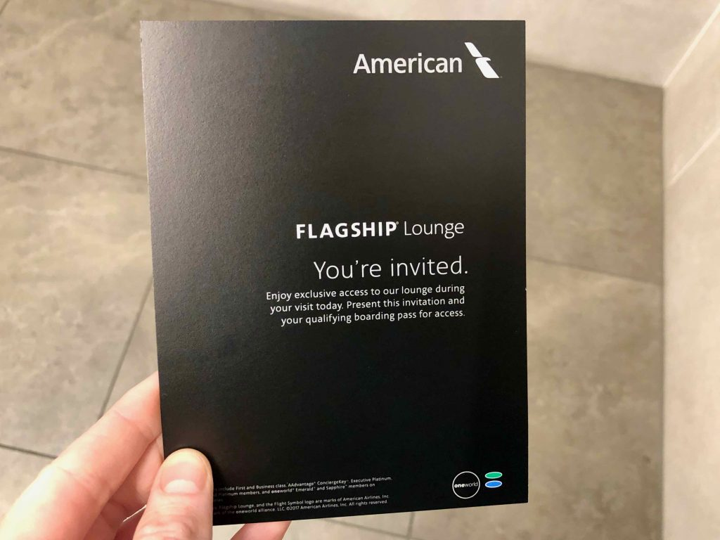 American Airlines Flagship Lounge Los Angeles invitation