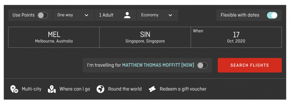 Qantas search box