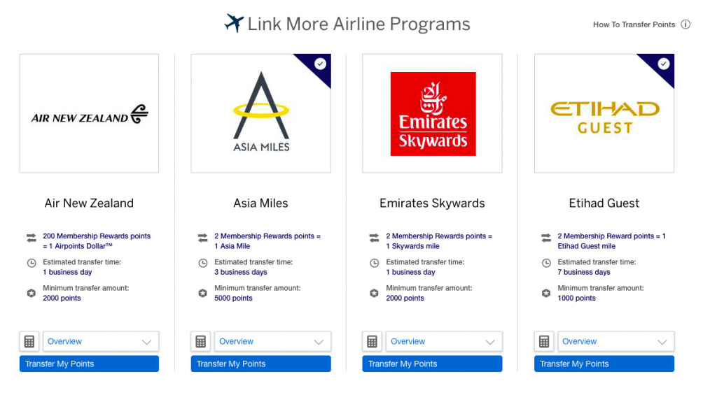 American Express Ascent Premium partner programs