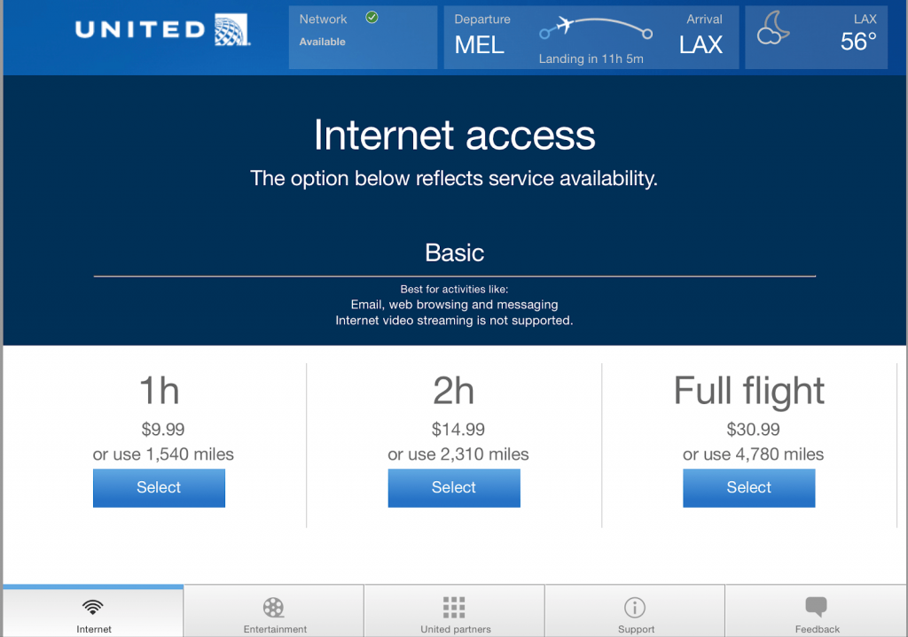United Airlines 787 wifi